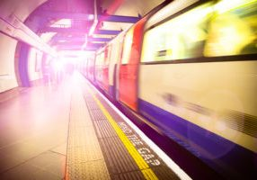 Subway Train is approaching a Station. Platform of the London Underground